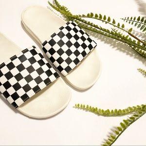 Vans black and white checkered slides sz 7